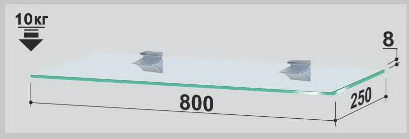 Полка стеклянная Gamma PL8 P (250х800х8) (прямоугольная прозрачная, графит, бронза)