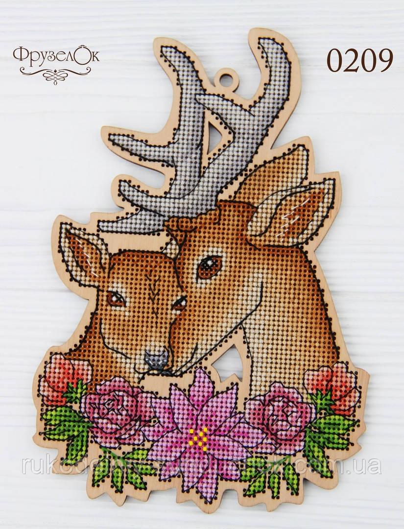 """Набор для вышивання крестиком на деревянной основе ФрузелОк """"Олені"""" 0209"""
