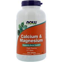 """Кальций и магний NOW Foods """"Calcium & Magnesium"""" для здоровья костей, 1000 мг и 500 мг (250 таблеток)"""