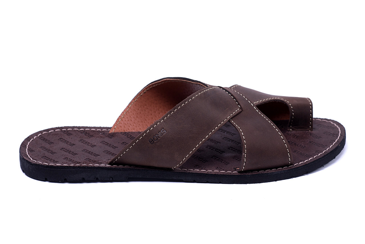 15efa7be1379cf Чоловічі шкіряні коричневі літні шльопанці Bonis Original Brown - Магазин  взуття в Хмельницком