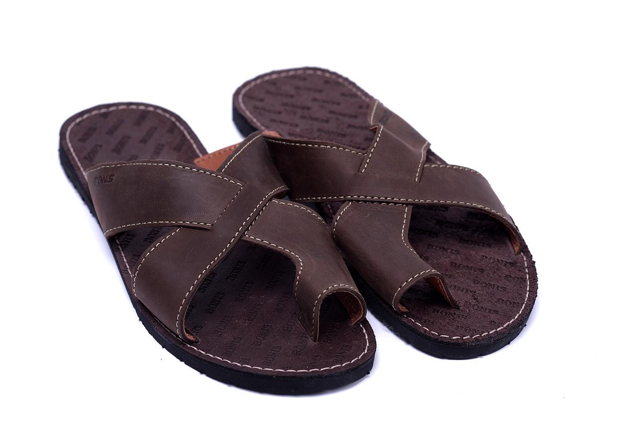 a87da777fa862b Чоловічі шкіряні коричневі літні шльопанці Bonis Original Brown , цена 599  грн., купить в Хмельницком — Prom.ua (ID#972372859)