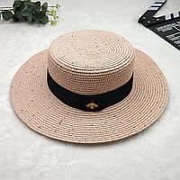Женская летняя шляпа канотье с пчелой в стиле Гуччи c пайетками розовая (пудра), фото 1