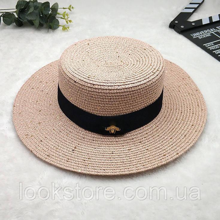 Женская летняя шляпа канотье с пчелой в стиле Гуччи c пайетками розовая (пудра)