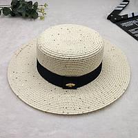 Женская летняя шляпа канотье с пчелой в стиле Гуччи с пайетками молочная, фото 1