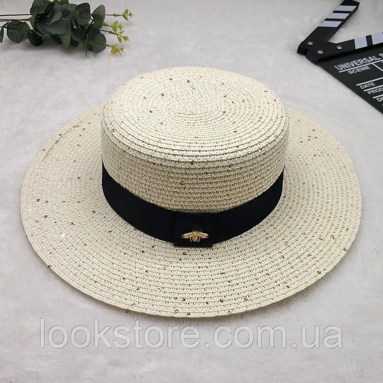 Женская летняя шляпа канотье с пчелой в стиле Гуччи с пайетками молочная