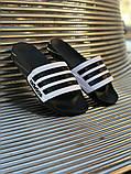 Мужские сланцы в стиле Adidas (black/white), сланцы Адидас, шлепанцы Адидас (Реплика ААА), фото 2