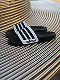 Мужские сланцы в стиле Adidas (black/white), сланцы Адидас, шлепанцы Адидас (Реплика ААА), фото 3