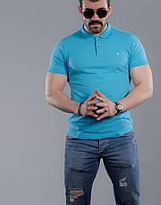 Футболка поло мужская М (46-48). Турция. Хлопок 95%. Бирюза, фото 3