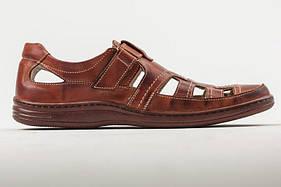 Мужские кожаные летние туфли   030 кор.