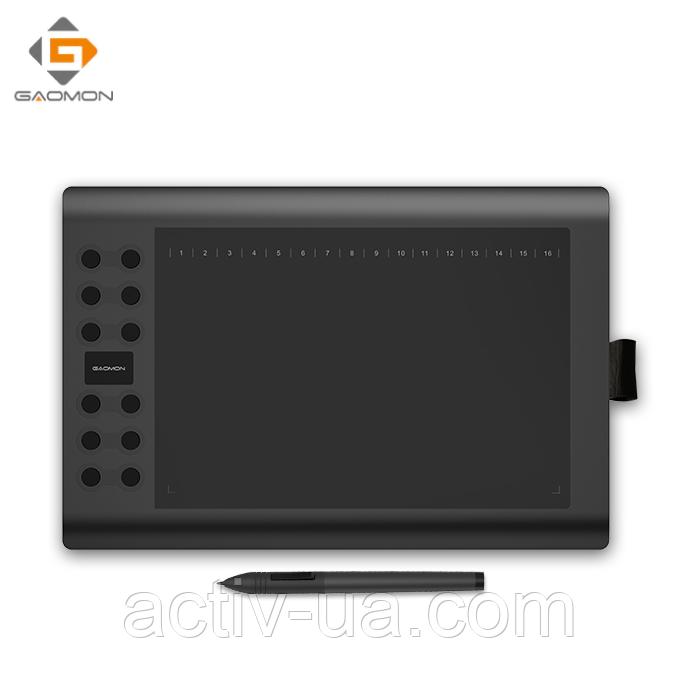 Графічний Планшет Gaomon M106K, робоча поверхня 254*158мм, 12 експрес клавіш і 16 функціональних клавіш