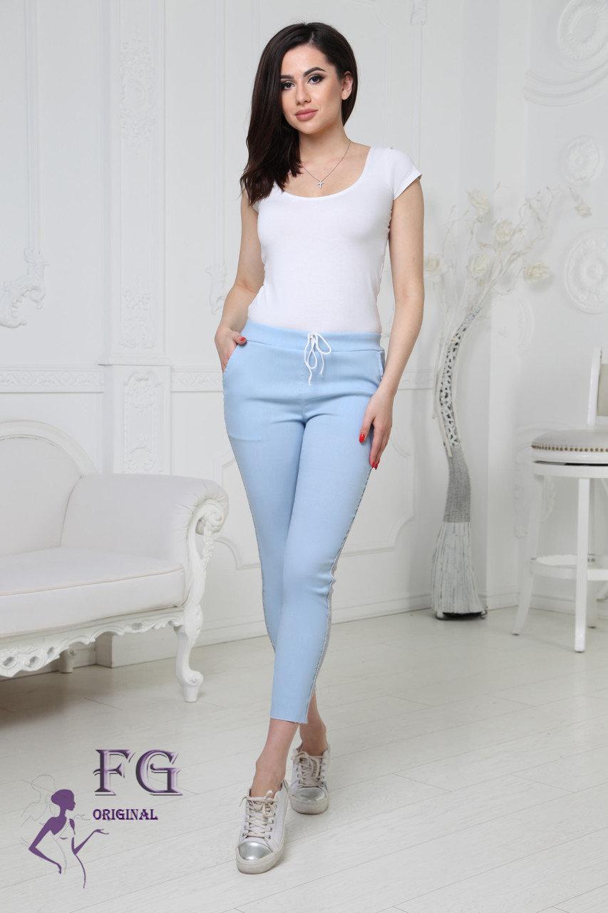 """Молодіжні жіночі укорочені літні шатны на гумці з блискучими лампасами штани """"Hard"""" блакитні"""