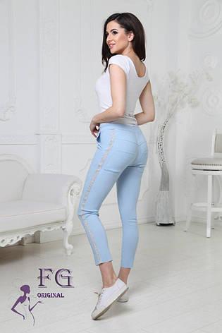 """Молодіжні жіночі укорочені літні шатны на гумці з блискучими лампасами штани """"Hard"""" блакитні, фото 2"""