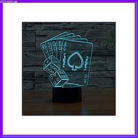 3D светильник ночник Покер