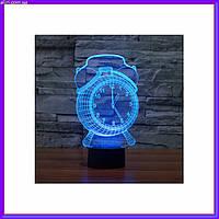 3D светильник ночник Часы