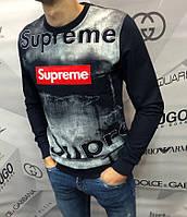 Свитшот мужской Supreme D4066 темно-синий, фото 1