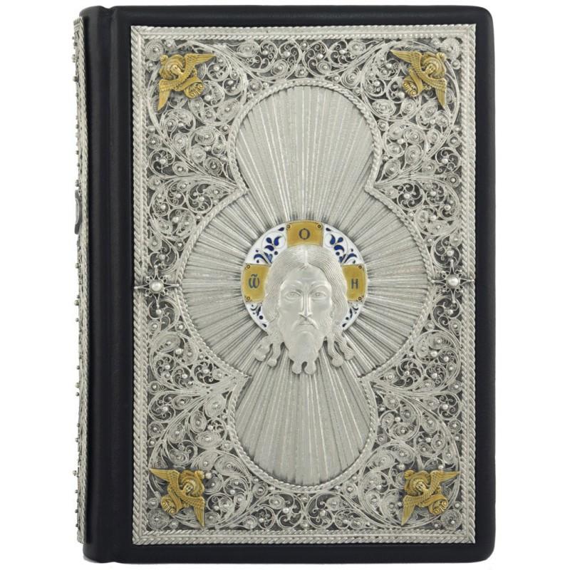 Молитвослов православный с иллюстрациями в кожаном переплете украшен посеребренными накладками