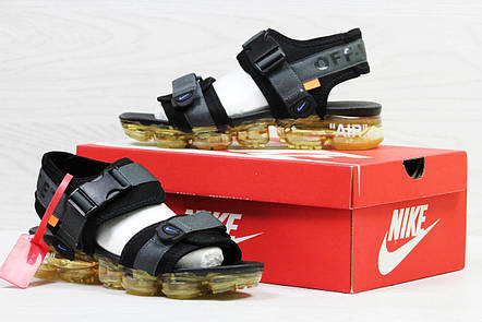 Мужские сандалии Nike Sandals off white x Nike Air Vapormax Black, фото 2