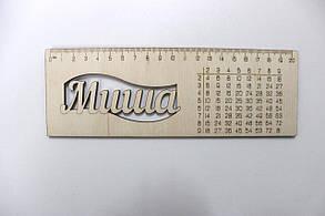 Іменні лінійки з фанери з таблицею множення