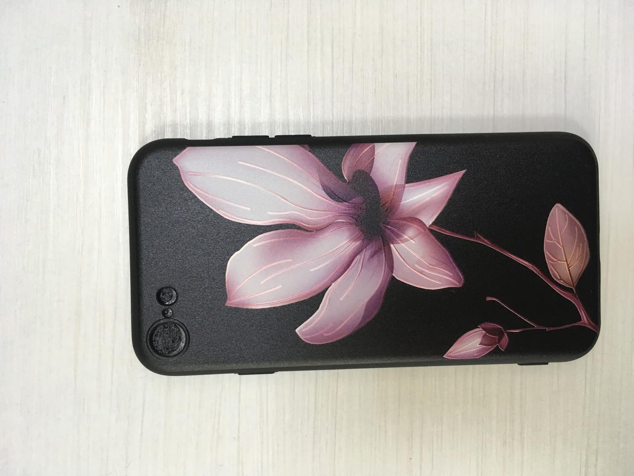 Силиконовый чехол с цветами для iPhone 7/8