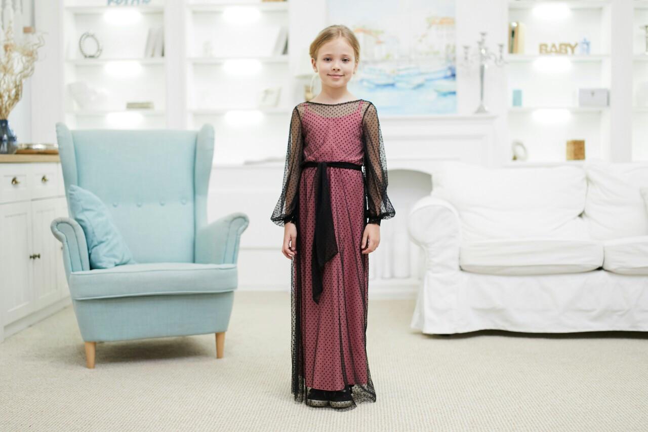 Платье детское нарядное на 7-9 лет черное с розовым (платье-трансформер)