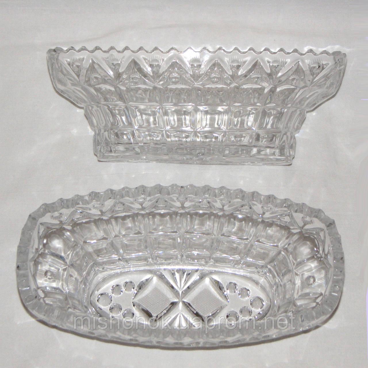 Пара хрустальных салатниц овальной формы, размер 25 х 12,5 х 9 см