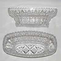 Пара хрустальных салатниц овальной формы, размер 25 х 12,5 х 9 см, фото 1