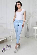 """Модные женские укороченные легкие брюки на резинке с блестящими лампасами """"Hard"""" белые, фото 2"""