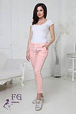 """Модные женские укороченные легкие брюки на резинке с блестящими лампасами """"Hard"""" белые, фото 3"""