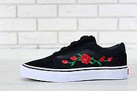 Кеды женские черные красивые текстильные Vans Old Skool Roses Ванс Олд Скул Розы