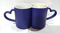 Чашки для сублимации Хамелеон Lоve-парная (синяя)