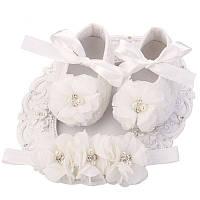 Пинетки для девочки с нарядной повязкой на голову 9-12 мес. 12 см., фото 1