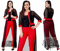 Женский стильный брючный костюм с сеткой на рукавах 1717G