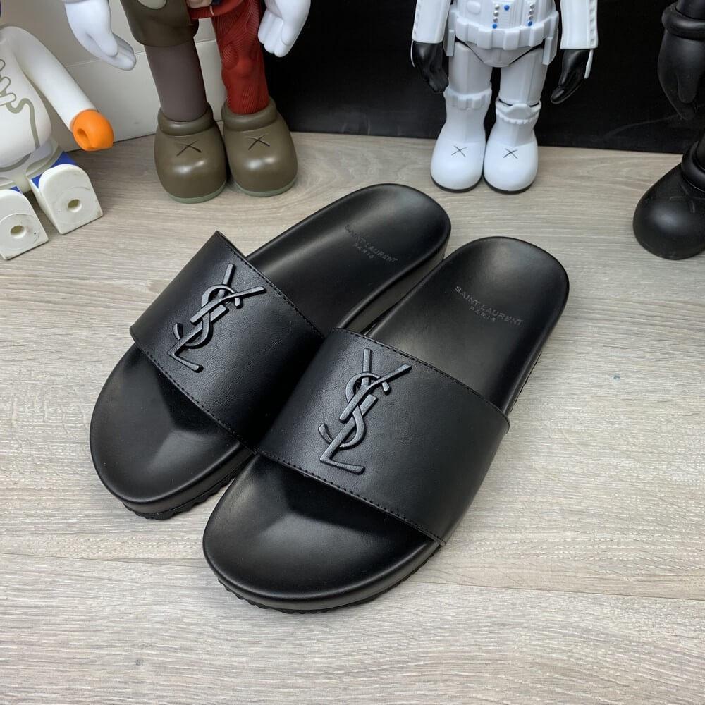 """Сланцы Ysl Saint Laurent Jimmy Sandals In Leather """"Черные"""""""