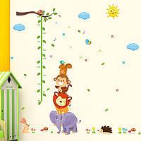 """Наклейка в детскую, ростомер, наклейки в детский сад """"веселые зверята"""" 185см*165см (лист 60*90см)"""
