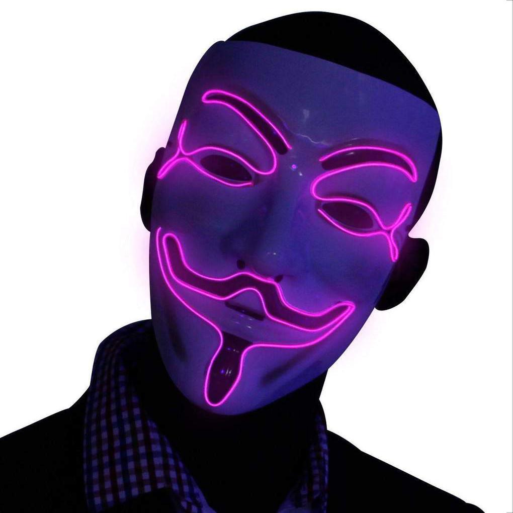 Неоновая Маска Гая Фокса с подсветкой Led Mask 2 Violet - 149751