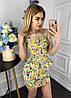 """Летний джинсовый женский костюм """"Darina"""" с баской и цветочным принтом (5 цветов), фото 3"""