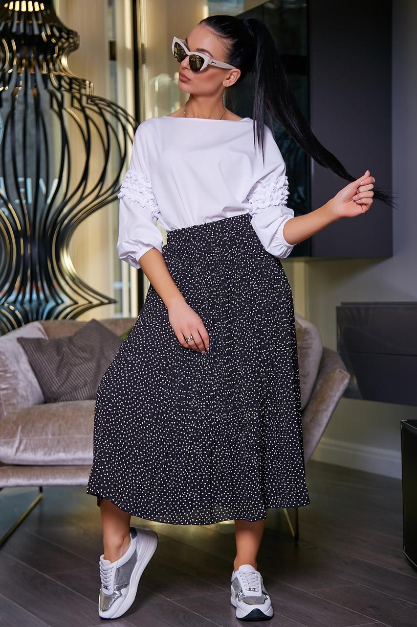 Женская летняя юбка, плиссированная, чёрная в горох, нарядная, повседневная, молодёжная,гламурная,ретро,винтаж