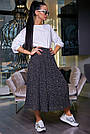 Женская летняя юбка, плиссированная, чёрная в горох, нарядная, повседневная, молодёжная,гламурная,ретро,винтаж, фото 3
