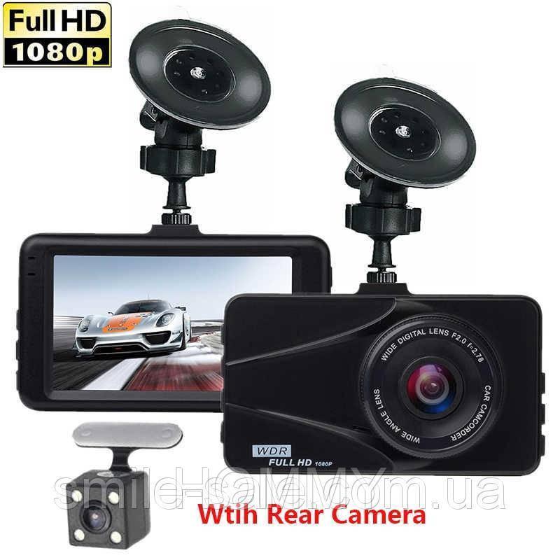 Автомобильный Видеорегистратор Full HD DVR T670G+ на 2 камеры 1080P HDMI