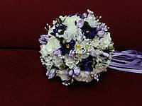 Свадебный букет-дублер из пион айвори с фиолетовым