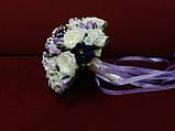 Весільний букет-дублер з півоній айворі з фіолетовим, фото 2