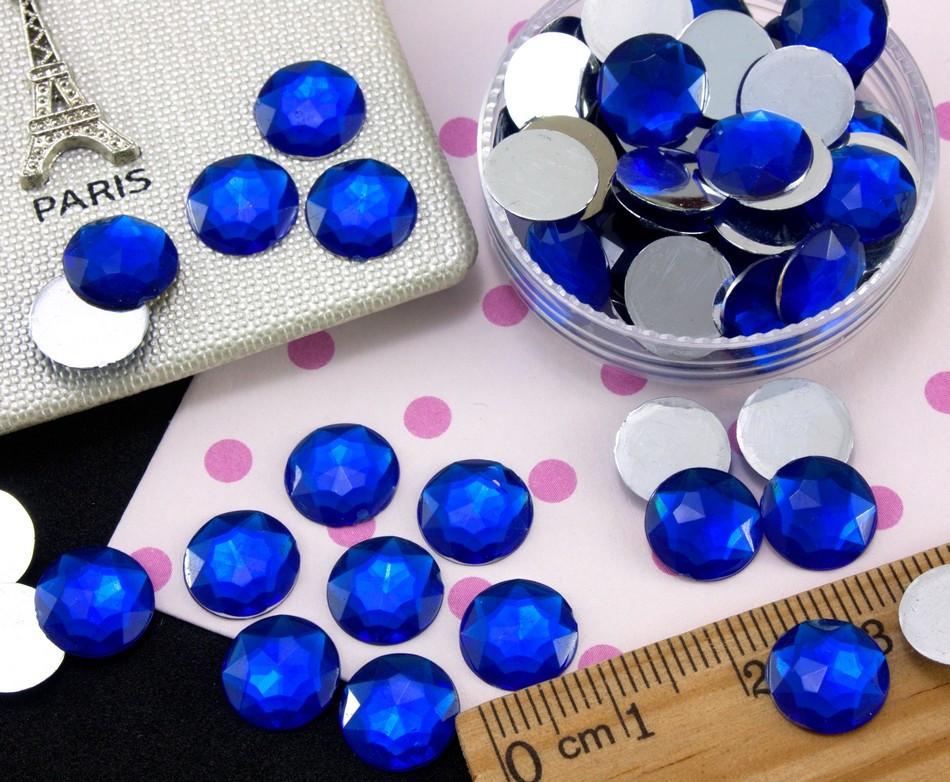 (100шт) Стразы серединки, кабошоны Ø10мм Цвет - Синий