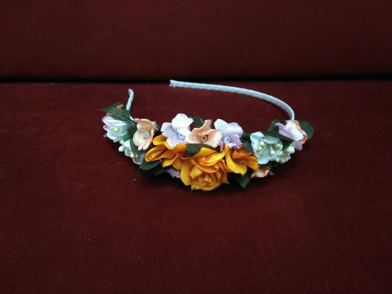 Обруч з квітів (квітковий вінок) помаранчевий для дорослих і дітей