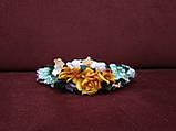 Обруч з квітів (квітковий вінок) помаранчевий для дорослих і дітей, фото 2
