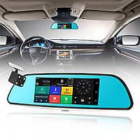 """Автомобильный Регистратор зеркало A6 Black 7"""" сенсор, 2 камеры, GPS+ WiFi, 8Gb, Android, 3G + ПОЛНЫЙ ОБЗОР"""