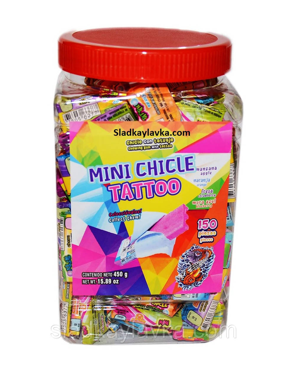 Жевательная резинка Bubble gum Mini chicle tattoo 4 см 150 шт (China)
