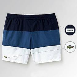 Пляжные шорты Lacoste, шорты Лакоста, мужские, плавательные, летние, синие и белые