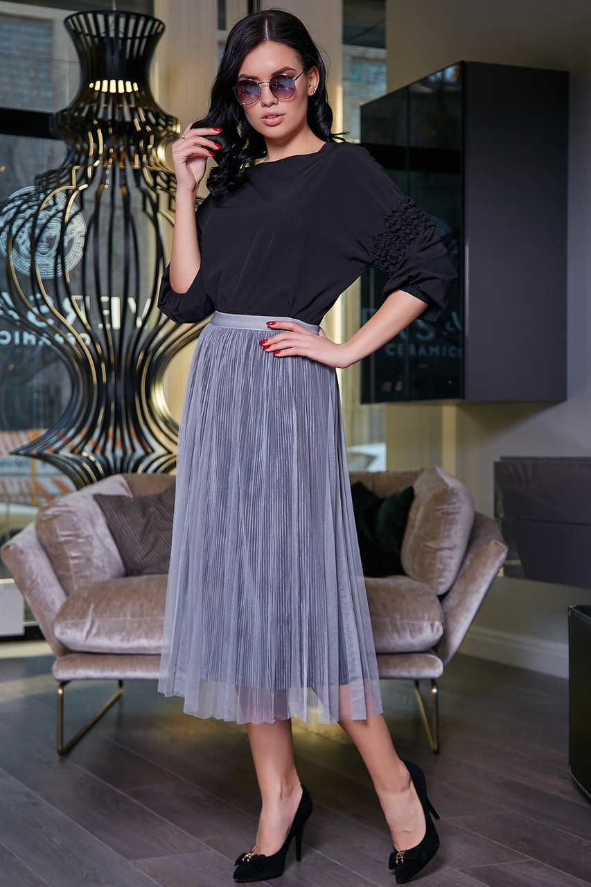 Женская летняя юбка, плиссированная, серая, нарядная, повседневная, молодёжная, гламурная, элегантная,вечерняя