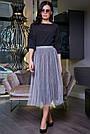 Женская летняя юбка, плиссированная, серая, нарядная, повседневная, молодёжная, гламурная, элегантная,вечерняя, фото 2
