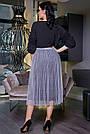 Женская летняя юбка, плиссированная, серая, нарядная, повседневная, молодёжная, гламурная, элегантная,вечерняя, фото 3